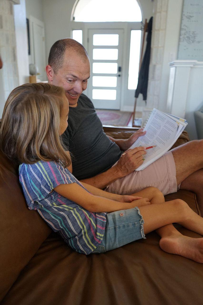 dad teaching cora